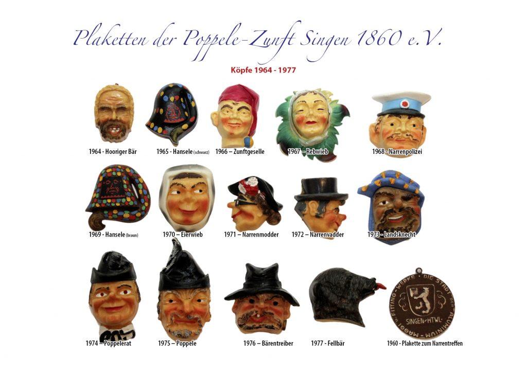 Plaketten Köpfe 1964 - 1977